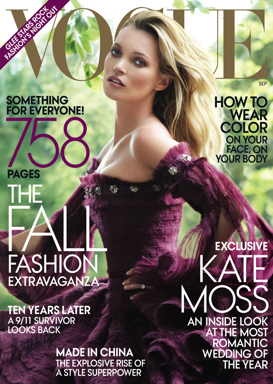 Kate Moss Glows On The Cover Of Vogue Magazine September Issue