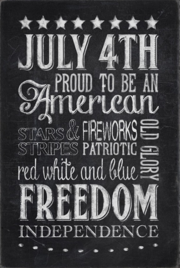 Proud to Be an American Chalk Art Printable