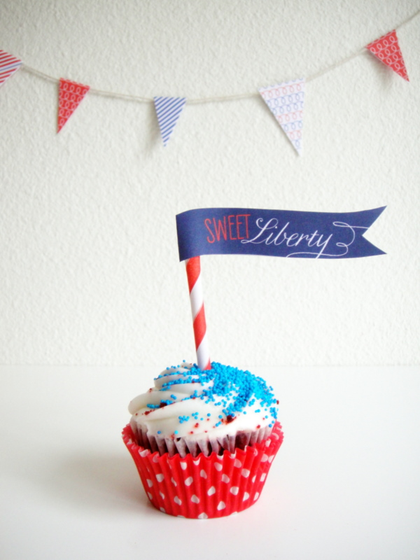 Sweet Liberty Flags Free Printable for Fourth of July