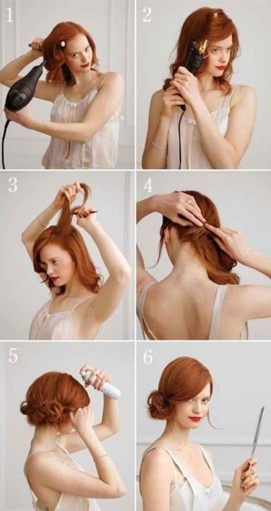 side bun chignon medium length hair updo