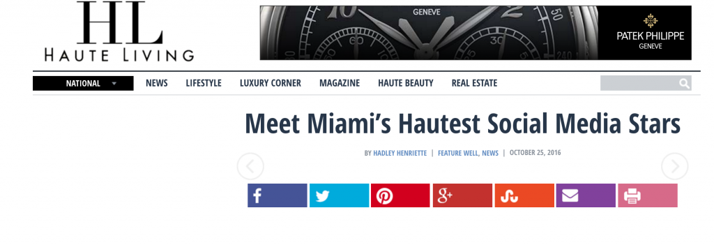 Loren Ridinger One of Haute Living Miami Hautest Social Media Stars