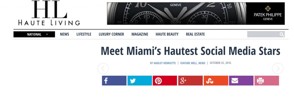 Loren Ridinger One of Haute Living Miami Hautest Social Media Stars