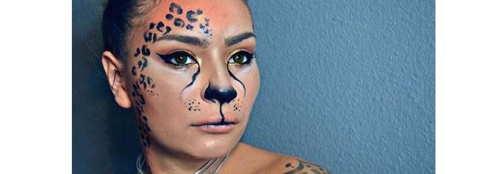 leopard, makeup, instagram makeup, halloween makeup from instagram, motives, motives cosmetics, last minute halloween costume, halloween costume