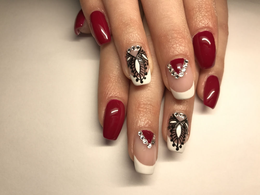 red white and black nail art