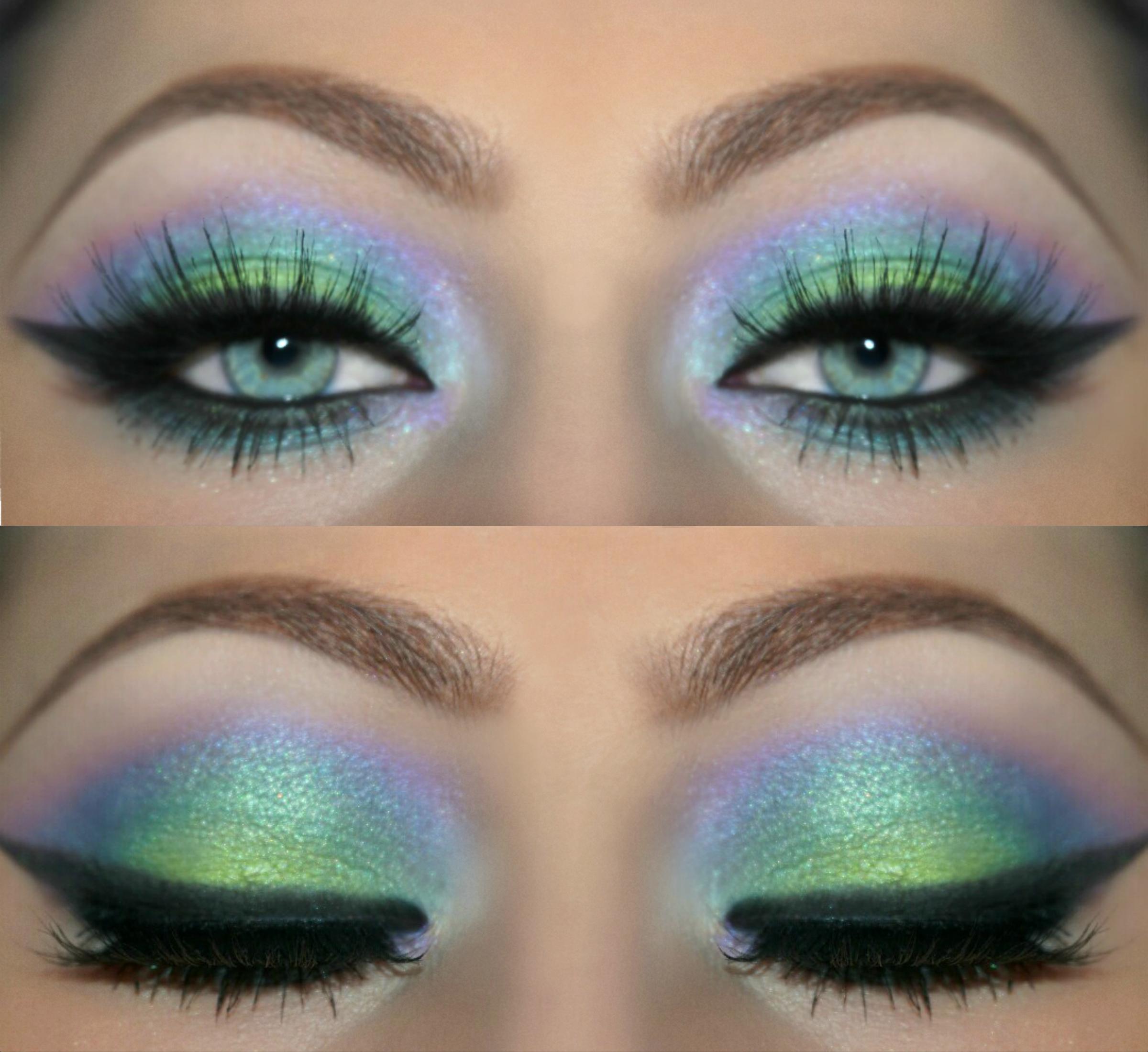 Blue Green Purple Festival Makeup Collage Cool Breeze