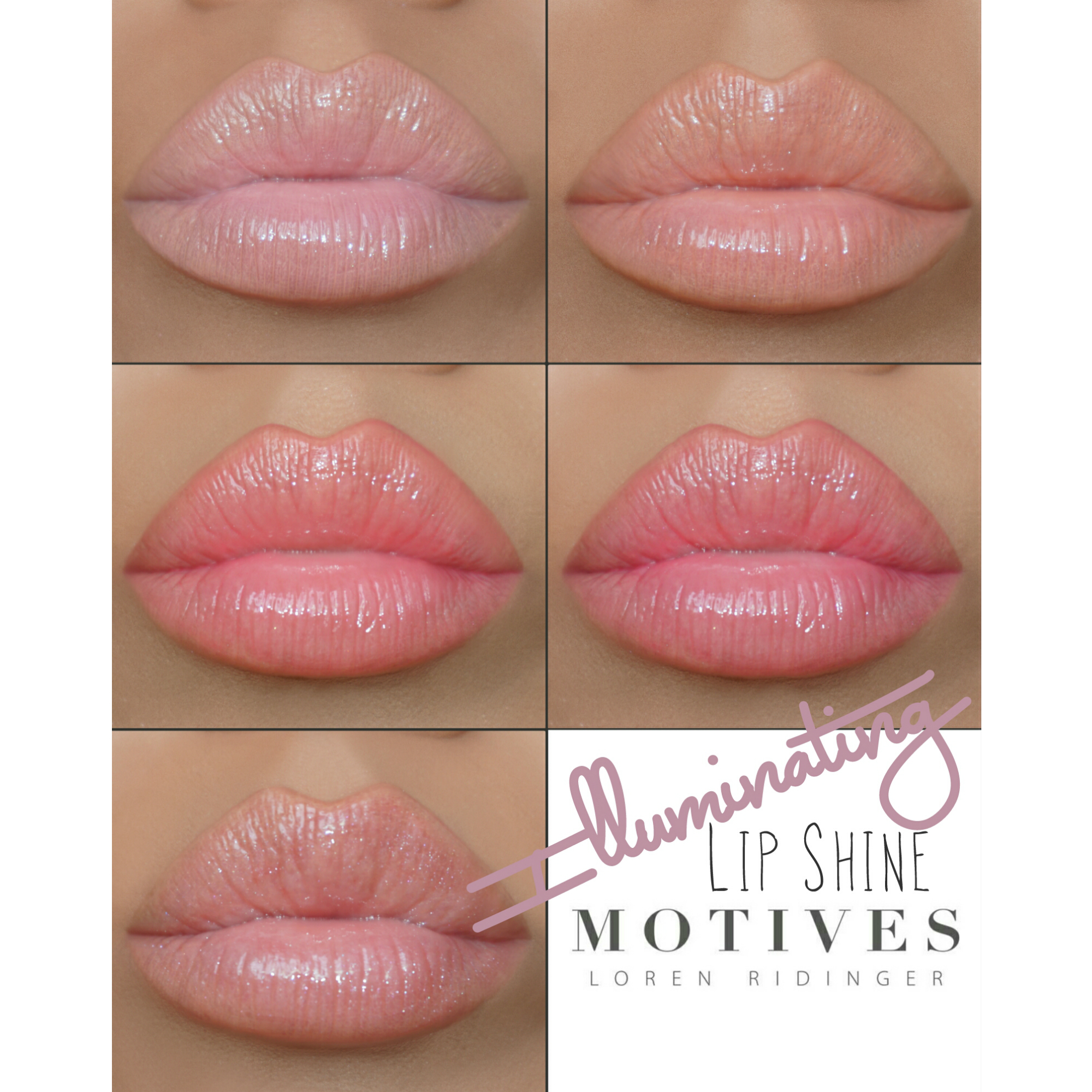 Motives Illuminating Lip Shines in Nudes and Pinks