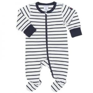 navy stripes newborn pajamas