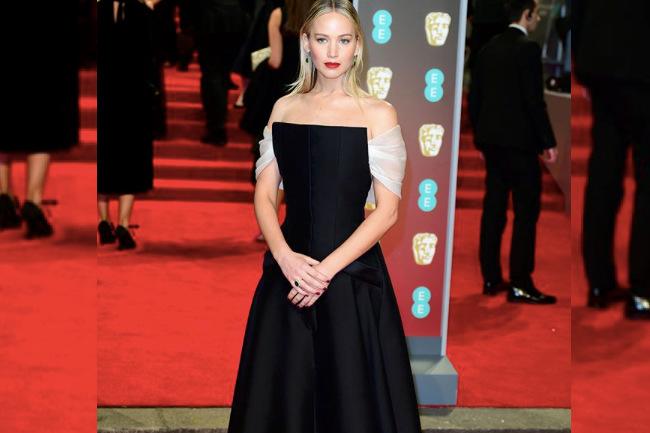 All the Black Dresses from the 2018 BAFTAs, jennifer lawrence, baftas, british, lupita nyong'o, lily james