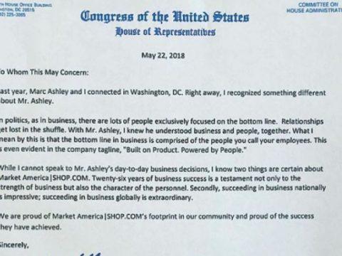 Congressman Mark Walker Recognizes Market America & Shop.com, congress, market america, shop.com, mark ashley