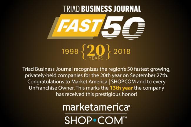 Market America Makes Triad Business Journal's Fast 50, fast 50, 2018, market america, shop.com