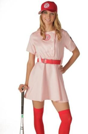 Get the Look for Halloween: Rockford Peach from 'A League of Their Own', a league of their own, rockford peaches, gina davis, madonna, rosie o'donnell, 90s movie, female baseball, baseball